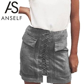 Women Lace Up Suede Leather Skirt