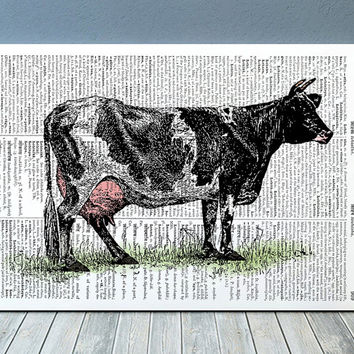 Cattle poster Cow print Animal art Farm print RTA936