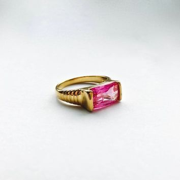 Large Modern Style Faceted Rectangular Pink Glass Topaz in Sterling Silver with Vermeil Finish, Larger Size Ring, Size 10, Modernist Style