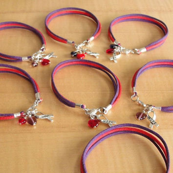 Purple and Red Awareness Bracelet -  Cotton