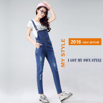 Korean woman's rompers broken hole denim trousers female loose straps overalls jeans