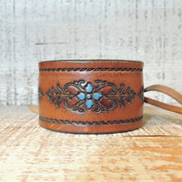 Leather Cuff / Cuff Bracelet / Tooled Leather Cuff / Boho Cuff / Indie Jewelry / Leather Jewelry / Hand Painted Leather / Western Jewelry