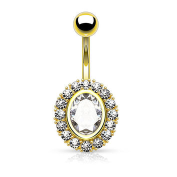Gold Oval Shape Paved CZ Around Large Oval CZ Surgical Steel Belly Button Rings 14ga