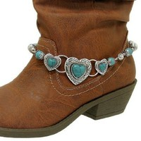 Amazon.com: Boot Charms 090 24 Bead Heart Filigree Silver Plated Turquoise: Jewelry