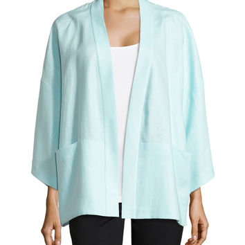 Cherise Linen 3/4-Sleeve Topper, Breeze, Size: