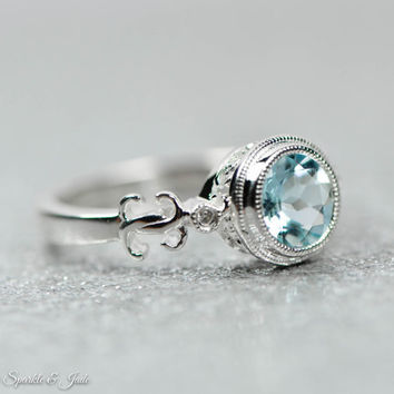 Sterling Silver or 14k White Gold Genuine Round Aquamarine & .02 CTW Diamond Ring