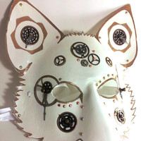 Steampunk White and Gold gear wolf mask handmade from leather
