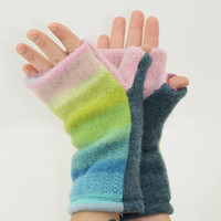 Fingerless Mitts in Pastel Rainbow - Pink Blue Turquoise Green Chartreuse - Recycled Wool - Fleece Lined