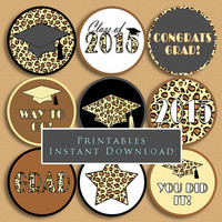 Graduation Printable Cupcake Toppers or Tags Leopard Print 2015 Grad DIY Printable INSTANT DOWNLOAD