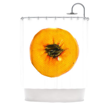 "Theresa Giolzetti ""Peach"" Orange White Shower Curtain"