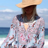 shirt new floral print peasant blouse V-Neck tassel tie long Sleeve shirt women bohemian tops hippie Blusas 2017