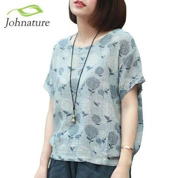 PEAPGC3 Johnature 2017 Summer Short Sleeve Women T-Shirts Linen Cotton Tops Loose Flower Print O-Neck Japanese Style Vintage Shirt