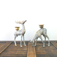 vintage brass deer figurines and candle holders