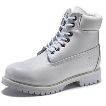 DCK7YE Best Deal Online Timberland 10061 Leather Lace-Up Boot Men Women Shoes White