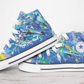 Toddler LowTop or HighTop Splatter Painted Converse or Vans Sneakers Size 3.5-10, Cust