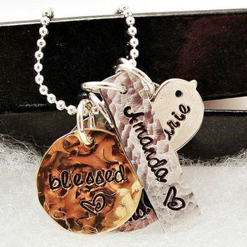 Hand Stamped Jewelry - Mixed Metal Cluster Necklace