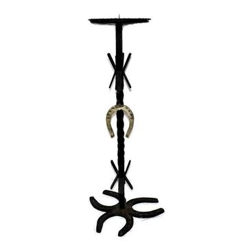 Vintage Western Iron Horseshoe Candlestand, Pillar Candle Holder