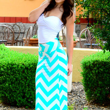 FOLLOW THE CHEVRON BRICK ROAD MAXI SKIRT IN MINT/WHITE