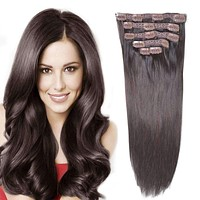 Human Hair Clip in Extensions for Women Dark Brown
