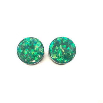 Green holographic plugs / steel gauges / 8g, 6g, 4g, 2g, 0g, 00g, 7/16, 1/2, 9/16, 5/8, 11/16, 3/4, 7/8, 1 inch / green plugs / sparkle