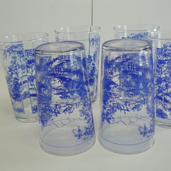 Libbey Glasses with Blue Farm House Scene,