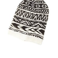 Tribal Print Knit Beanie by Charlotte Russe - Black/White
