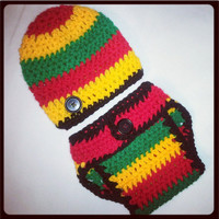 Rastafari Baby Diaper Cover and Hat Set Perfect Photo Prop. Ready to Ship. Other sizes available in shop