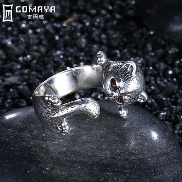 GOMAYA 925 Sterling Silver Leopard Ring Handmade Vintage Boho Punk Fine Jewelry Cute Animal Wrap Rings for Women Red Crystals