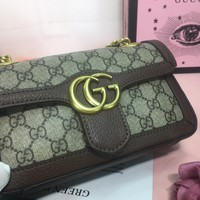 HCXX 1601 Gucci Solo Ophidia Marmont GG Supreme Corrugated chain package 22-14-6cm Brown