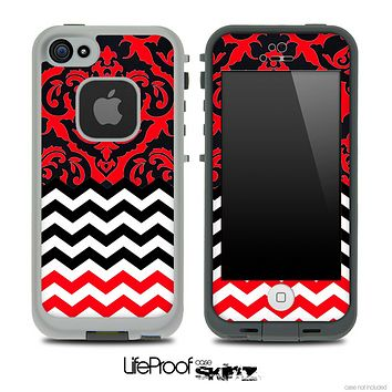 Mirrored Red V2 Chevron Pattern Skin for the iPhone 5 or 4/4s LifeProof Case