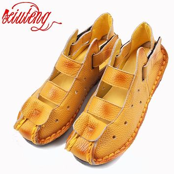 Xiuteng Summer New Soft Bottom Flat Leather Shoes Personality Casual Women Sandals Tunnel Vintage Handmade Sandals For spring