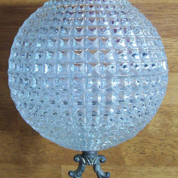 Vintage Clear Glass Globe for Light with Square Pattern - Retro, Old, Ceiling - Part