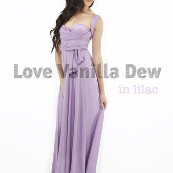 Bridesmaid Dress Infinity Dress Lilac Floor Length Maxi Wrap Convertible Dress Wedding Dress