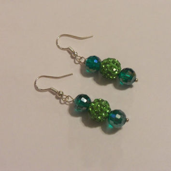 Green pave earrings, emerald earrings, dangle earrings, gifts for her, St Patricks Day earrings, jewerly for her, handmade earrings