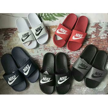 """Nike"" Summer Fashion Letter Slippers Men Home Sandals Flats Shoes"