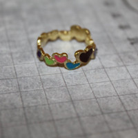 Colorful Heart Ring.  Size approx 6.5. Great gift - High Fashion