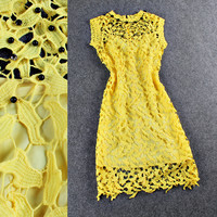 Yellow Beaded Crochet Sleeveless Mini Dress