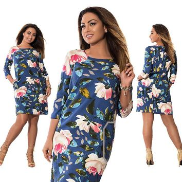 5XL 6XL Large Size  Summer Dress Big Size Flowers Print Dress Straight Elegant Dresses Plus Size Women Clothing Vestidos