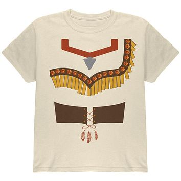 Halloween Native American Princess Costume Red Youth T Shirt