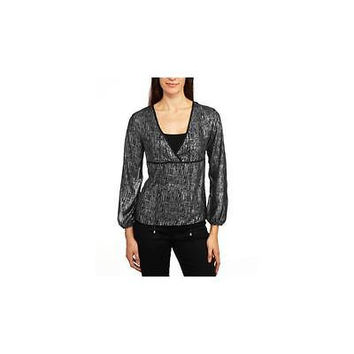 Glamour & Co. Women's Metallic Print Tie Front Blouse, Small, Black/Silver
