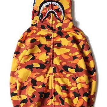 HCXX Hot men's BAPE Orange Shark Head Full Zip Jacket Hoodie Sweatshirt Plus thick