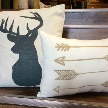 "Buck and Arrow set of pillows, 17"" Buck Silhouette pillow, Antlers, Deer, 10 x 15 Hand-painted Arrow Pillow, Canvas Pillow Set"