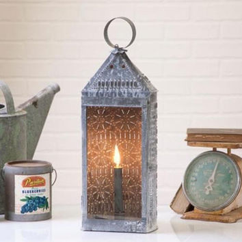 """Tall Punched Tin Harbor Candle Electric Lantern 22"""" with Glass Front"""