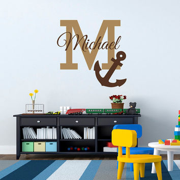 Initial Name Anchor Wall Decal Nautical Wall Decals Personalized Initial Name Monogram Nursery Kids Boys Room Playroom Bedroom Decor M032