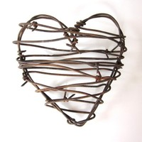 Barbed Wire Heart -Cowboy's Heart - Rustic Wedding Decor Love Wedding Gifts For Him Fathers Day | Luulla
