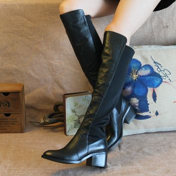 2017 women over the knee boots leather black sexy thign high boots 5cm high heel winte  number 1