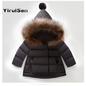 Baby Infant Boy Girl Winter Warm Faux Fur Hooded Coat Parka Jackets Solid Children Toddlers Clothes