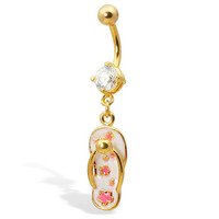 Gold Tone belly button ring with dangling flip-flop