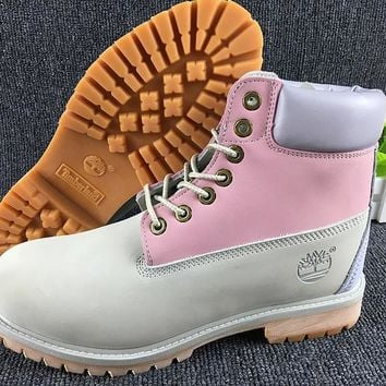 Timberland Rhubarb Boots Grey Pink For Women Men Shoes Waterproof Martin Boots