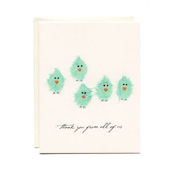 """Thank You From All of Us"" 5 Teal Birds"